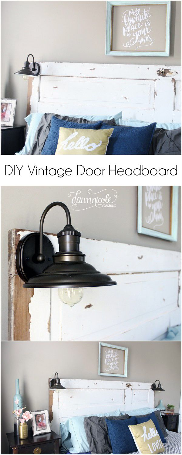 Bedside wall mounted lamps - Diy Vintage Door Headboard Learn How To Turn A Vintage Door Into A Headboard And