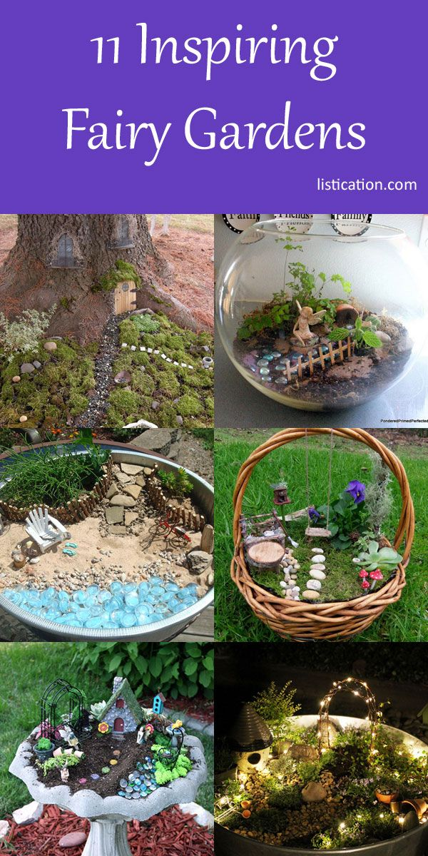 When I was little, I'd spend entire recesses at school making little furniture for tiny, imaginary beings, only to leave them after 20 minutes and never see them again. Little did I know that grown-ups do this, too, except they call them Fairy Gardens. I'm so totally in. Here's some fairy garden inspiration for you!   1. All In The Details This sweet fairy garden was designed by a cute 4-year-old and her mum. I love the details like the ladder and the campfire.  A beautifully deta...