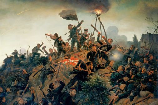 18 April 1864 - the key battle of the Second Schleswig War between Prussia and Denmark was fought at the Battle of Dybbøl, ending with a decisive Danish defeat.  Depicted below is an imagination of the storming of the Danish redoubts by the German painter Wilhelm Camphausen (1818 – 1885), Düsseldorf, 1866