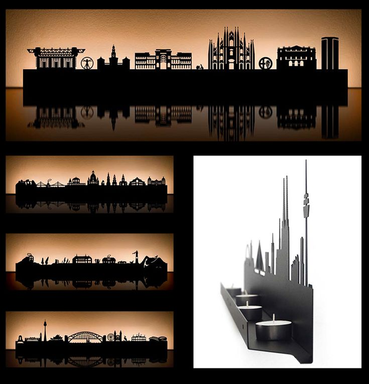 If It's Hip, It's Here: Radius Turns 20 Metropolitan Cities Into Cities Of Light. Metal Landmark Skyline Candle Holders.