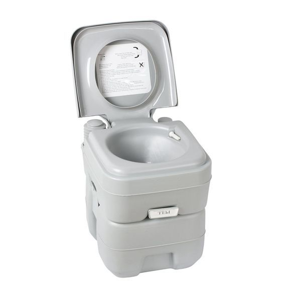 Flexzion Portable Camping Toilet 5 Gallon Recreation Flush Potty Commode 20L Capacity Sanitation Supply for Outdoor Indoor Caravan Boats Travel Hiking *** Continue to the product at the image link.