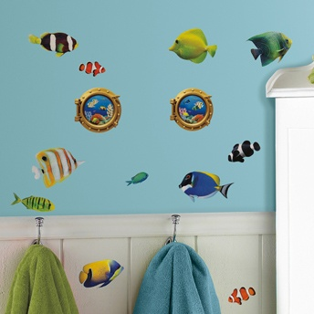 fish wall decals with lenticular port hole peel u0026 stick wall decals add a splash of underwater fun to your bathroom or kidsu0027 room dcor with this playful