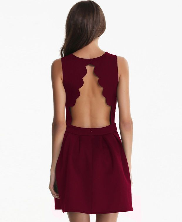 Maroon Sleeveless Backless Ruched Mini Dress