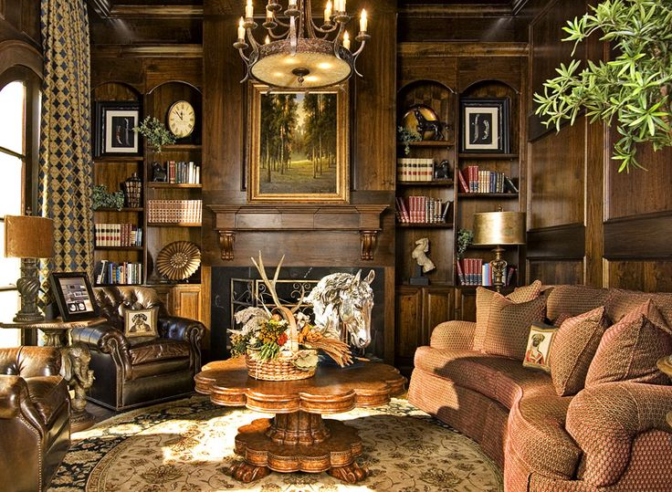 Masculine library sitting room decor rustic elegance for Masculine rustic decor