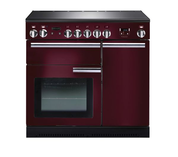 Professional+ 90 Electric Induction Range Cooker - Cranberry & Chrome