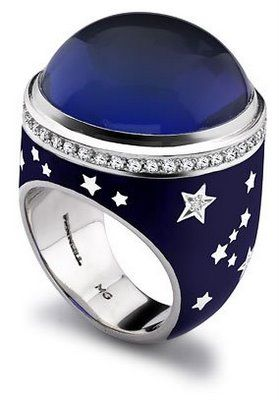 Tanzanite cabochon, enamel and diamonds, Theo Fennell