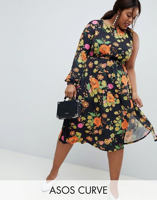 4d4ad4f56eb8 ASOS DESIGN Curve one shoulder balloon sleeve midi dress in floral print