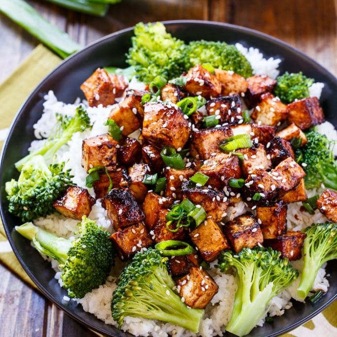 Maybe a mild version? Asian Garlic Tofu- marinated in a sweet and spicy sauce and seared until crispy.