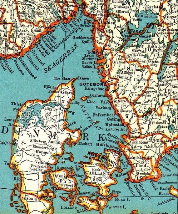 Vintage Sweden Norway And Denmark Map Digital Scandinavia Map Etsy In 2020 Denmark Map Antique Map Scandinavian Print