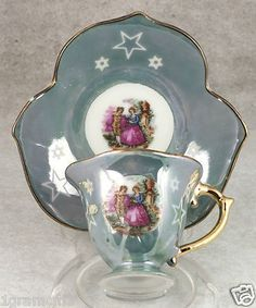 Vintage Porcelain Colonial Scene Demitasse Tea Cup and Saucer