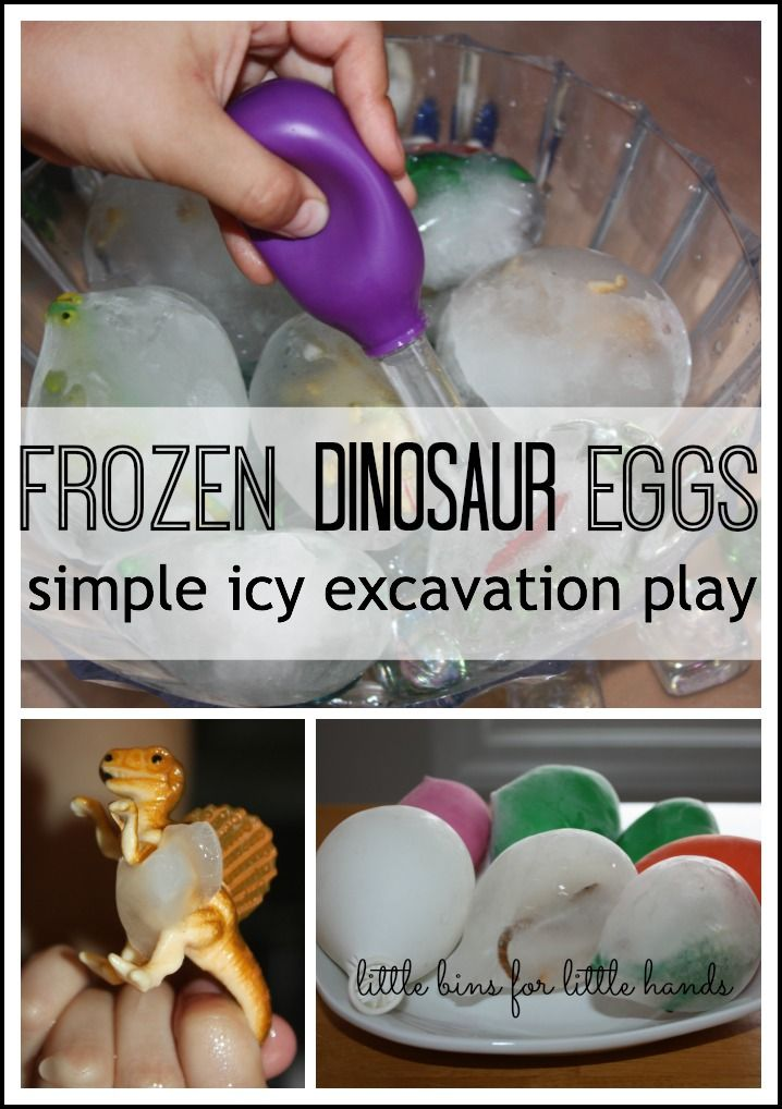Dinosaur Eggs Frozen Sensory Play… I've done this one before and my two year olds LOVED it!!!