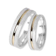 Confecção Par de Aliança de Prata Reta com Filete de Ouro - 37376