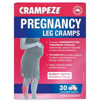 Crampeze Pregnancy Leg Cramps Tabs are specially designed to help relieve leg cramps while pregnant.  Crampeze Pregnancy Leg Cramps Tablets also contain Vitamin D3 to support baby's bone development.