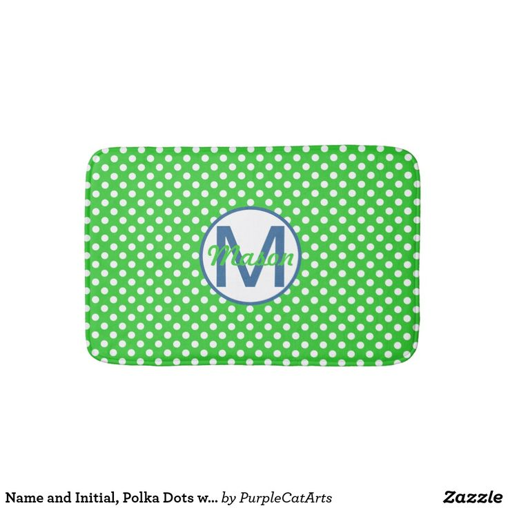 Name and Initial, Polka Dots with Blue and Green Bath Mat