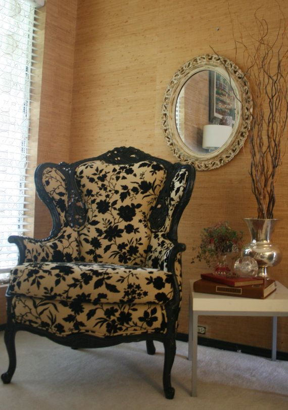 Gorgeous refurbished Victorian chair with a modern yet romantic twist