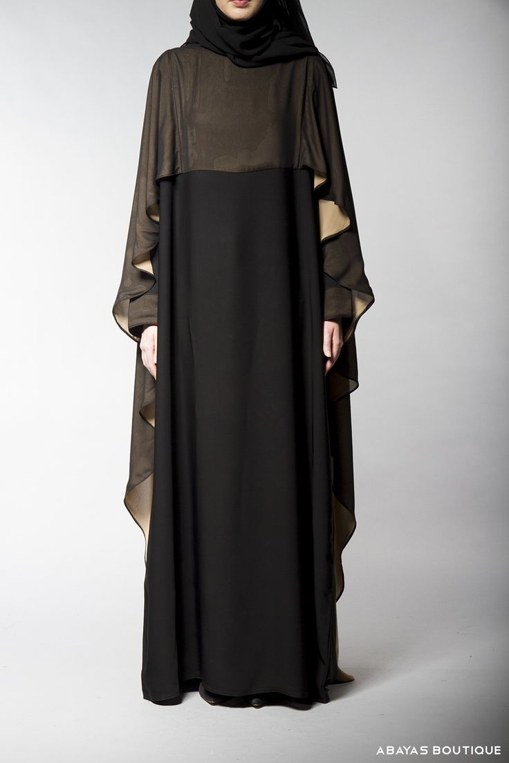 Arabian Princess cape style abaya is a couture piece from our new collection of couture and bridal wear. The elegant abaya is complemented perfectly by the built-in cape, prim example that capes can add more than a touch of elegance to an already demure abaya.The cape is attached and skilfully sewn into the abaya very flowy and luxurious look.