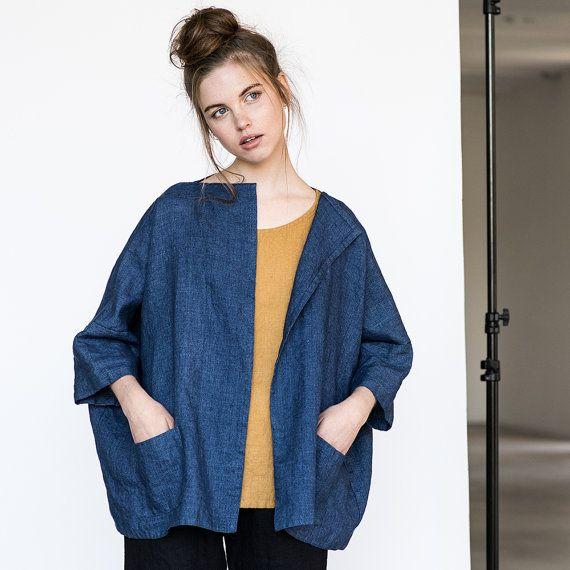 Washed oversized short linen  wool blend