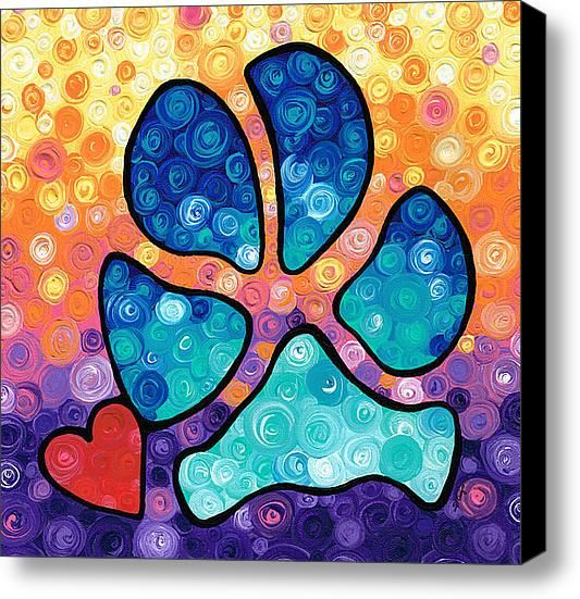 Puppy Love - Colorful Dog Paw Art By Sharon Cummings Stretched Canvas Print / Canvas Art By Sharon Cummings