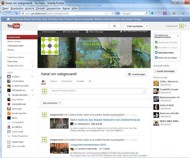 Screenshot der Ansicht webgewandt bei YouTube im neuen Design - 2013 mit neuem Titelbild / Kanalbild - Artikel in meinem Service-Blog (4.5.2013)