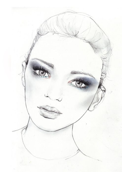 Fashion illustration - beautiful portrait, stylish fashion drawing // Sarah Hankinson