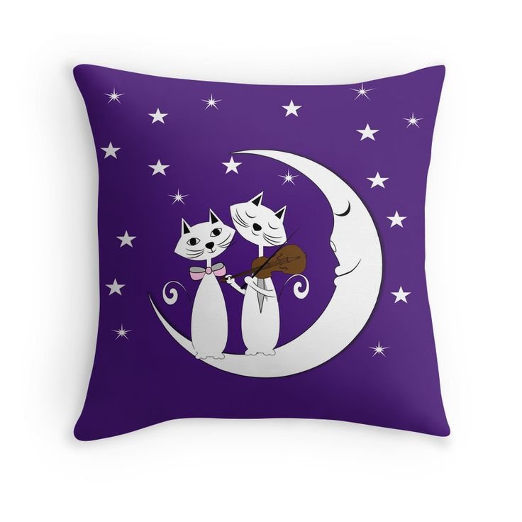 Whimsy Cute Cats Serenade Sitting On A Crescent Moon