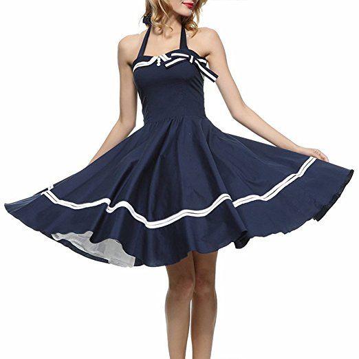 iShine Retro Kleider Damen Neckholder Cocktailkleider ...