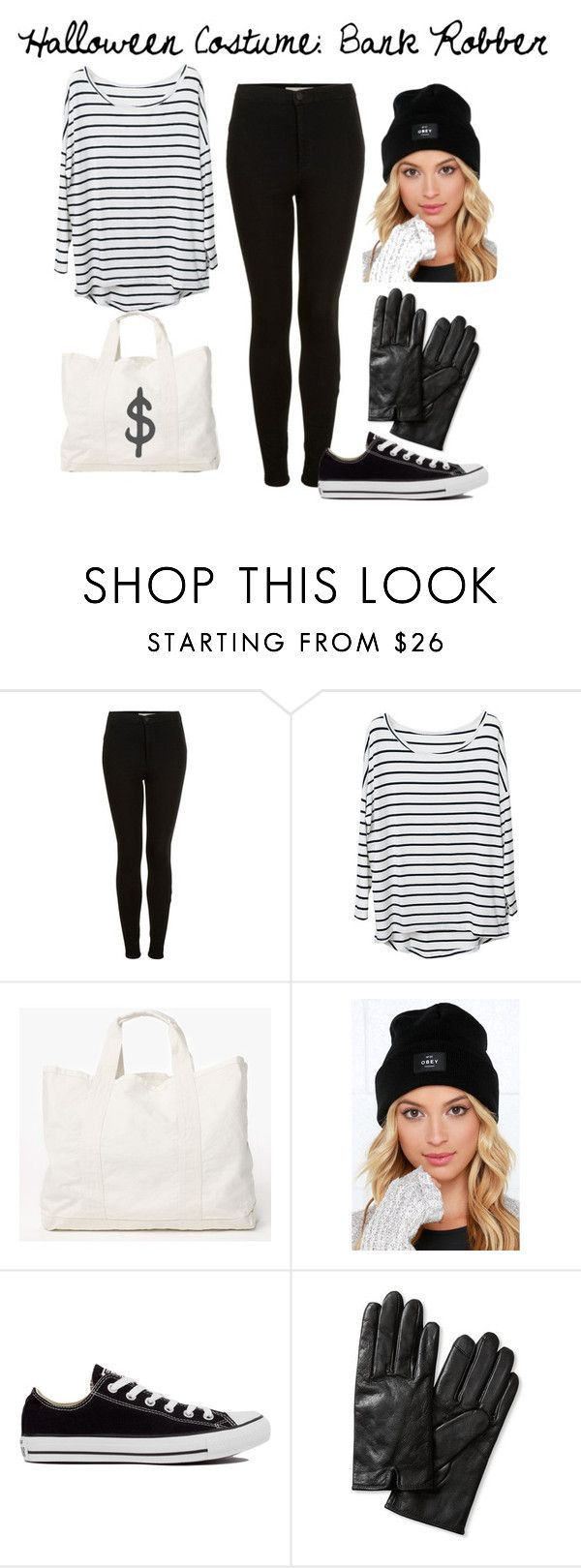 """Halloween Costume: Bank Robber"" by caro3302 ❤ liked on Polyvore featuring Topshop, James Perse, OBEY Clothing, Converse and Banana Republic"