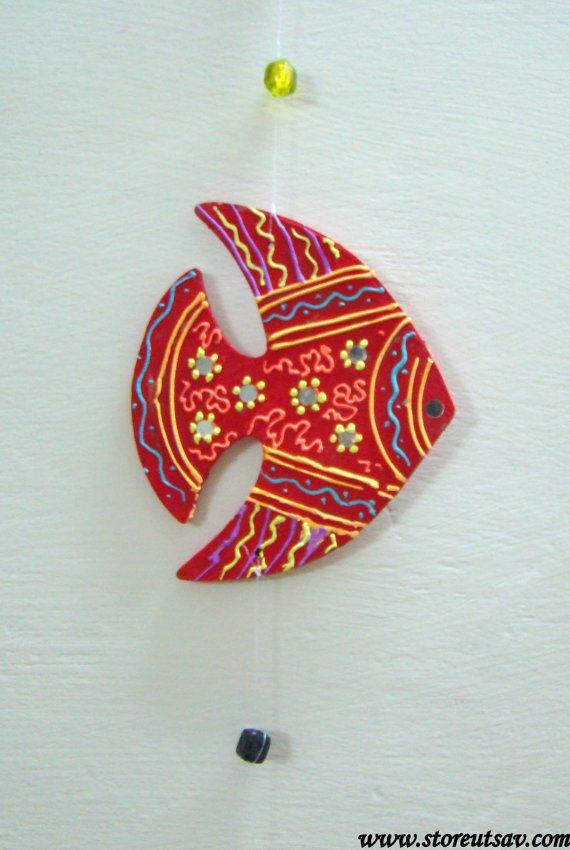 Casa Decor artigianato indiano pesce cono parete di di StoreUtsav
