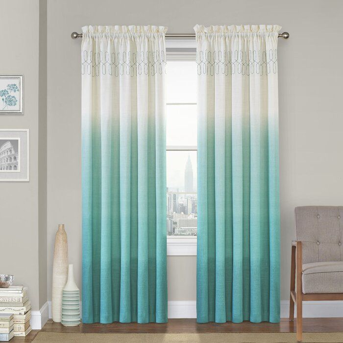 Higbee 100 Cotton Ombre Semi Sheer Rod Pocket Single Curtain Panel In 2020 Teal Curtains Teal Rooms Rod Pocket Curtain Panels