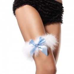 Maribou Garter W/Bow available in blue & white and white & white  Marabou Garter With Satin Bow
