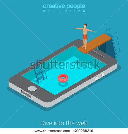 Mobile internet surfing dive into the www web concept. Flat 3d isometric isometry web vector illustration. Man springboard trampoline into smartphone screen water pool. Creative people collection.