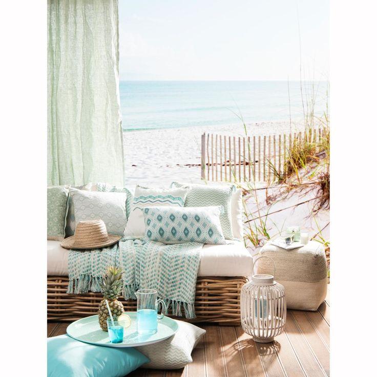 Blue Cotton Cushion Cover with Jacquard Motifs 40 x 40 cm   Maisons du Monde