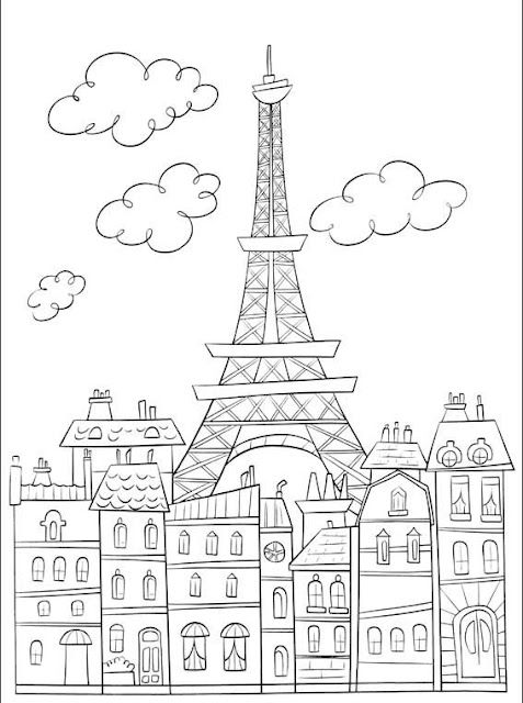 Coloring page Eiffel Tower