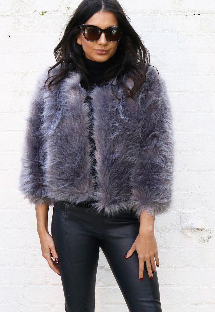 0f2985148fa Fluffy Faux Fur Collarless Cropped Jacket in Dark Grey | KEEP ME ...