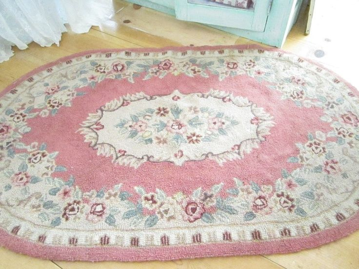 FABULOUS SHABBY CHIC | RESERVED Kelly Fabulous shabby chic pink wool latch hooked rug with ...