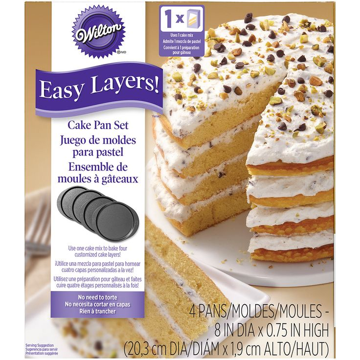 """Features:  -Easy Layers collection.  -Contains four 8"""" round cake pans.  -Dishwasher safe.  -One cake mix makes four perfect layers.  Color: -Black. Dimensions:  Overall Height - Top to Bottom: -2.25"""""""
