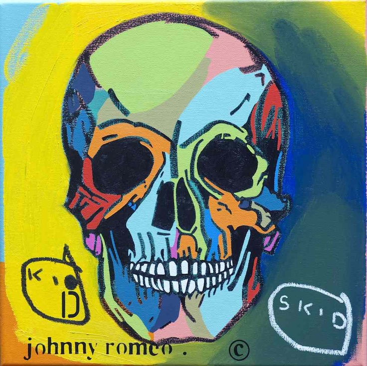 Johnny Romeo.See more at www.convergegallery.com/portfolio/johnny-romeo/  TITLE - Kid Skid  MEDIUM - Oil and Acrylic on Canvas SIZE - 40cm x 40cm