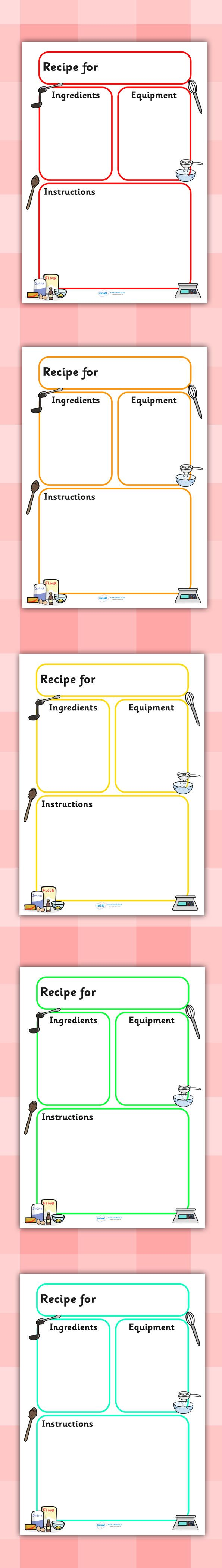Twinkl Resources >> Recipe Template >> Printable resources for Primary, EYFS, KS1 and SEN.  Thousands of classroom displays and teaching aids! Topics, Recipe, Cooking, Templates