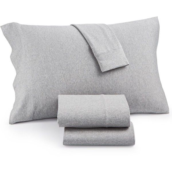 Heathered Cotton Jersey 4-Pc. Solid King Sheet Set ($120) ❤ liked on Polyvore featuring home, bed & bath, bedding, bed sheets, grey, king size bedding ensembles, king sheet sets, king jersey sheet set, king size bed sets and king size sheet sets