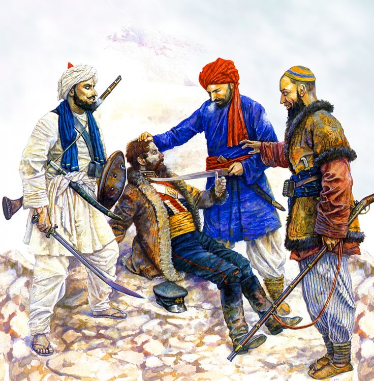 Afghan tribesmen holding a British officer captive during the Anglo-Afghan War, 1839–