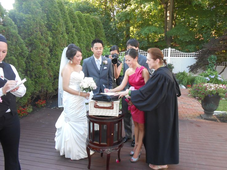 Me, with #Bride, Hoang Ahn, and #Groom, Seung Ha, and their #Maid-of-Honor and #Best #Man, witnessing their #Marriage #Certificate at their #wedding The Commons 1854, in @Topsfield, @MA