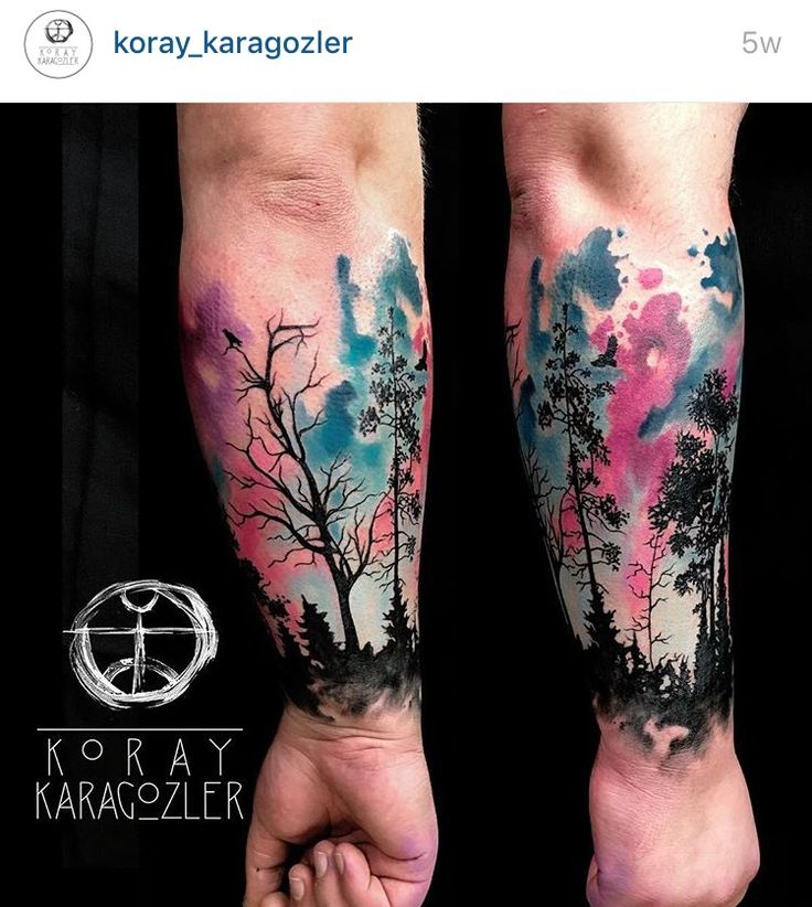 Watercolor nature tattoo half sleeve