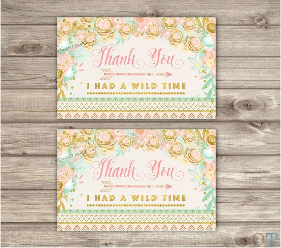 Wild One Thank You Cards Pink and Gold Glitter Party girl First Birthday teal Digital Printable Favor Tags Tribal Geometric Arrow