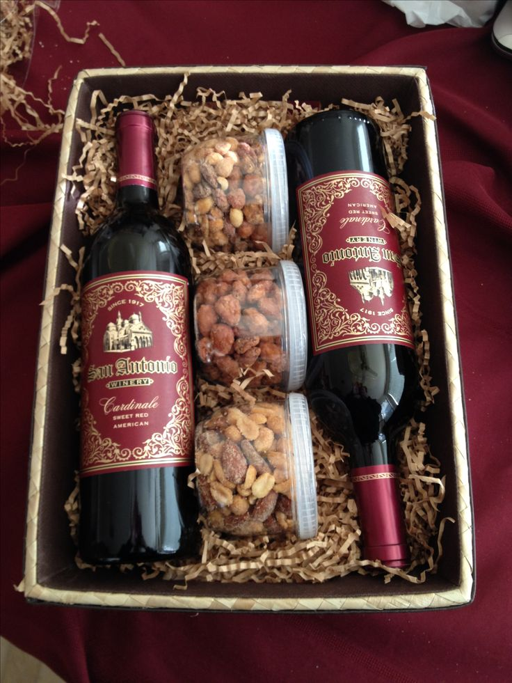 Wine Gift Basket. Nuts are a good idea to add to the wine basket