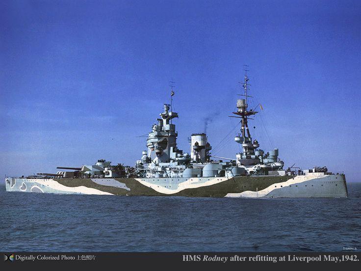 HMS Battleship Rodney in camouflage pattern.