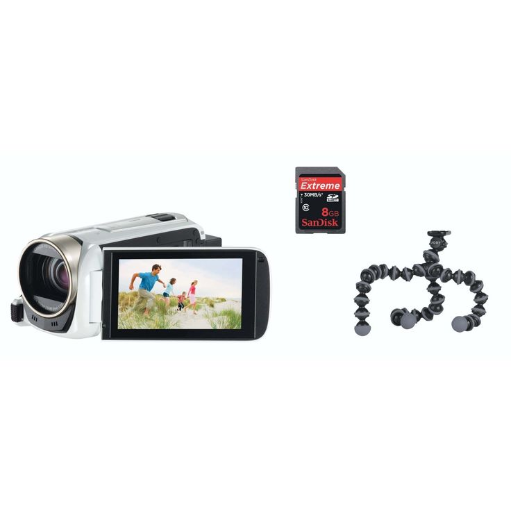 """CANON - Canon HF-R506 White Video Camera - Canon HF-R506 White Video Camera Includes SANDISK - EXTREME SDHC 8GB - 30MB/S VIDEO SYSTEM. Recording Formats: AVCHD/MP4 Recording Medium: SDXC/SDHC/SD memory card SENSOR Type: 1/4.85"""" CMOS Total pixels: 3.28 megapixel Effective Pixels Movie: 2.07 megapixels Effective Pixels Still: 2.07 megapixels (16:9) Filter: Bayer pattern filter LENS Advanced Zoom: 57x Optical Zoom: 32x Digital Zoom: 1140x Focal length: 2.8mm - 89.6mm 35mm Equivalent Focal…"""