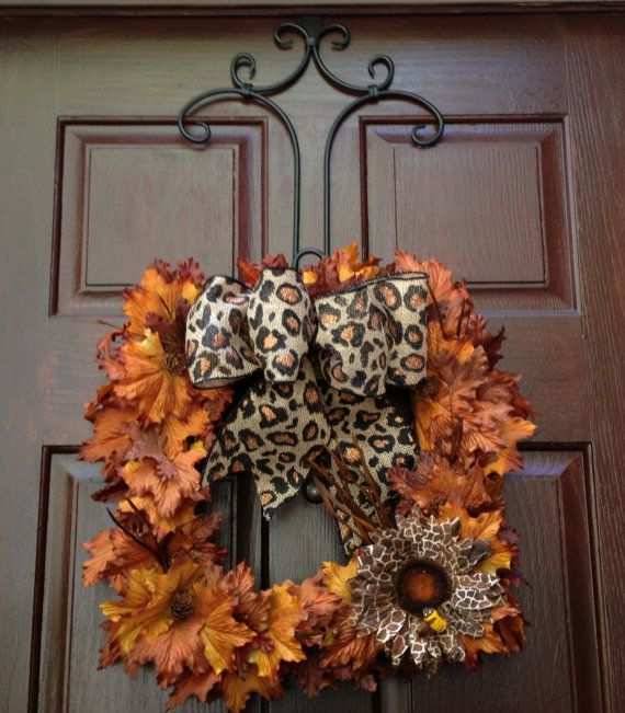 Fall Leopard Bumblebee Square Wreath On Etsy, $80.00. Fall DoorWreaths  CraftsFront ...