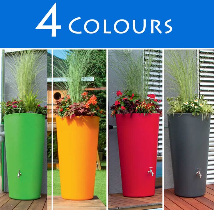150l Rainbowl Flower Water Butts With Planter In 4 Colours :: Water Butts Direct