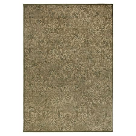 Anchor your living room or define a space in your master suite with this eye-catching rug, showcasing a scrollwork motif in tan and green.  ...