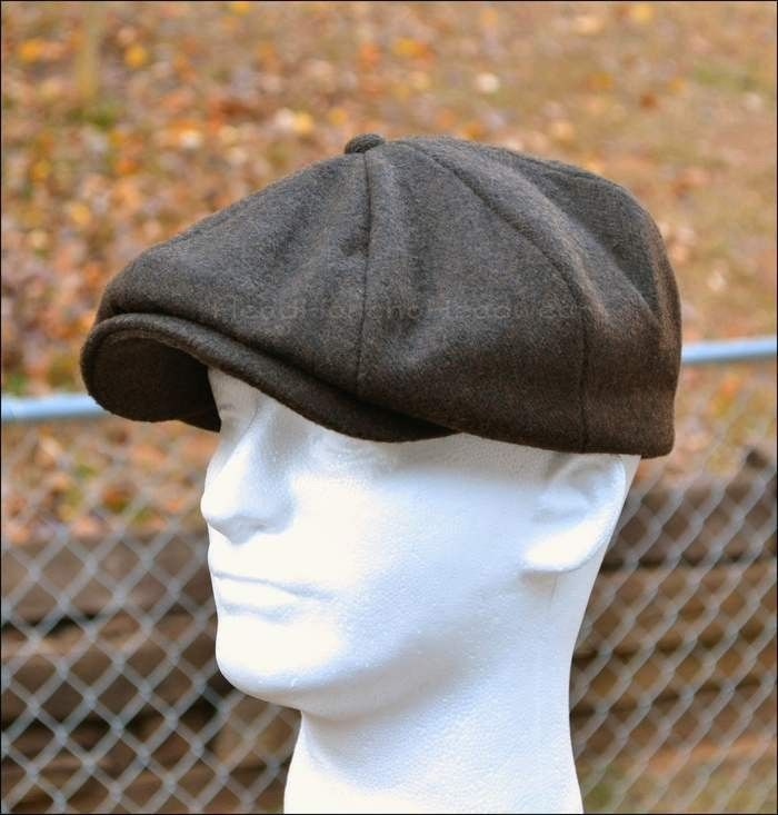 a0e5679b8dd WOOL NEWSBOY GATSBY CAP IVY HAT GOLF DRIVING CABBIE WINTER BROWN BLACK M L  XL in Clothing